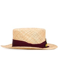 Muveil Embroidered Logo Boater Hat Brown