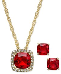 Charter Club Gold Tone Red Stone Pendant Necklace And Stud Earrings Set Only At Macy's