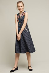 Anthropologie Petaled Plaid Swing Dress Blue Motif