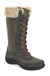 Aetrex Women's Waterproof Lace Up Boot Grey Nylon Fabric