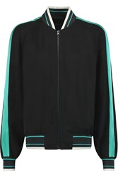 Jonathan Saunders Christina Stretch Silk Bomber Jacket Black