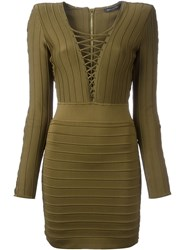 Balmain Lace Detail Ribbed Dress Brown
