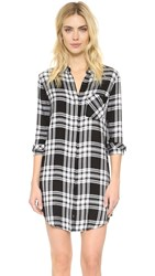Rails Sawyer Plaid Button Down Shirtdress Ebony White