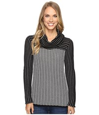 Calvin Klein Grid Striped Cowl Neck Sweater Black White Women's Sweater