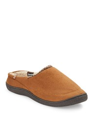 Isotoner Sherpa Lined Microsuede Slippers Cognac
