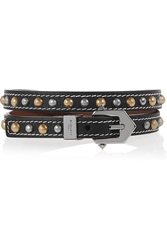 Givenchy Studded Wrap Bracelet In Black Leather