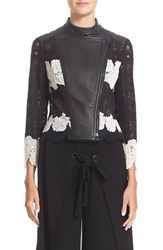 Yigal Azrouel Women's Lace And Leather Moto Jacket
