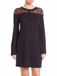 La Perla Myrta Long Sleeve Nightgown Black