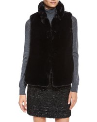 Milly Stand Collar Faux Fur Vest Black