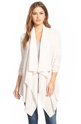 Petite Women's Halogen Wool And Cashmere Drape Front Cardigan Pink Hush