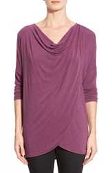 Women's Bobeau Drape Neck Tulip Hem Tunic Purple Nectar