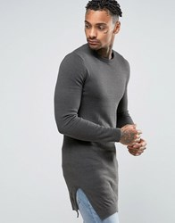 Asos Muscle Fit Super Longline Crew Neck With Side Splits Khaki Navy Twist Green