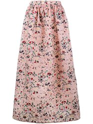 Huishan Zhang Floral Embroidered Soft Pleated Skirt Pink Purple