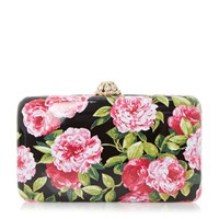 Dune Belle Floral Print Hard Case Clutch Bag Black