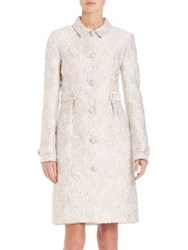 St. John Long Sleeve Floral Embroidered Coat Bianco Multi