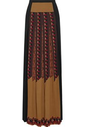 Etro Pleated Printed Stretch Crepe Maxi Skirt Multi