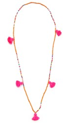 Lead Mutli Tassel Necklace Fuschia Multi