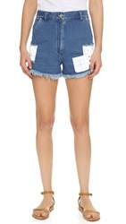 House Of Holland Patch Denim Shorts Blue