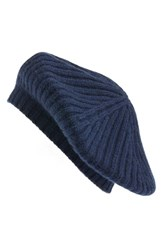 Halogenr Women's Halogen Slouchy Ribbed Cashmere Beret Blue Navy Night
