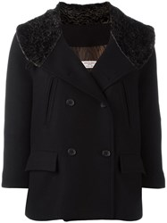 Alberto Biani Fur Effect Collar Peacoat Black