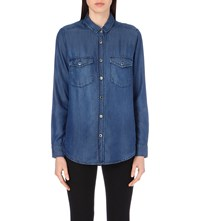 The Kooples Button Down Denim Shirt Blue Washed