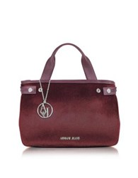 Armani Jeans Eco Leather And Hair Calf Tote Bag Burgundy