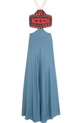 Celia D. Embroidered Cotton And Silk Blend Maxi Dress Light Blue