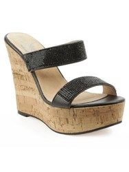 Daniel Shaymen Crystals Wedge Sandals Black