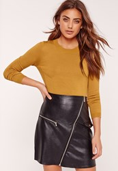 Missguided Ribbed Side Cropped Jumper Yellow Mustard