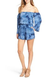 Ashley Mason Women's Off The Shoulder Woven Romper Blue