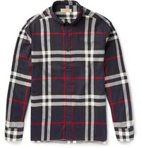 Burberry Slim Fit Button Down Collar Checked Cotton Flannel Shirt Navy