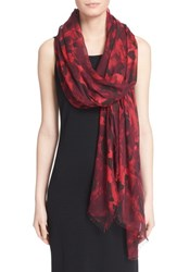 Women's St. John Collection 'Shaded Peony' Print Modal And Silk Scarf
