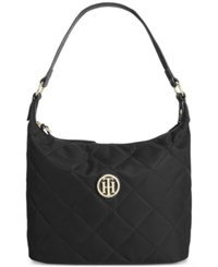 Tommy Hilfiger Quilted Nylon Small Hobo Black