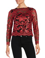 Marina Sequin Floral Top Red