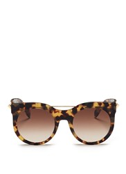 Alexander Mcqueen 'Piercing Bar' Round Tortoiseshell Acetate Sunglasses Brown Animal Print