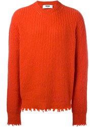 Msgm Frayed Ribbed Sweater Red