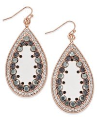 Inc International Concepts Rose Gold Tone Crystal Edged Teardrop Earrings Only At Macy's