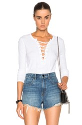 Pam And Gela Long Sleeve Lace Up Top In White