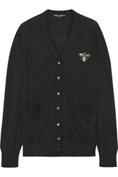 Dolce And Gabbana Embellished Cashmere Cardigan Black