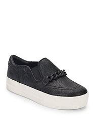 Ash Joe Leather Slip On Platform Sneakers Black
