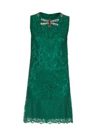 Dolce And Gabbana Cordonetto Lace Embellished Sleeveless Dress Green