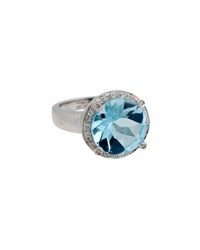 Poiray 18K White Gold Round Blue Topaz And Diamond Ring