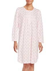 Miss Elaine Floral Print Lace Trim Nightgown Pink