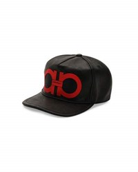 Salvatore Ferragamo Gancini Vegan Leather Baseball Cap Black Red Black Red