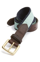 Vineyard Vines 'Whale Club' Leather And Canvas Belt Green