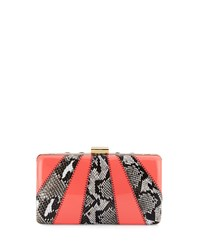 Franchi Jen Snake Embossed Evening Clutch Bag Natural Coral