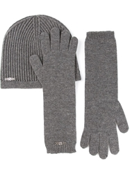 Dsquared2 Ribbed Beanie And Gloves Set Grey