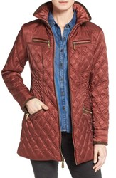 Vince Camuto Women's Faux Suede Trim Quilted Jacket Rust