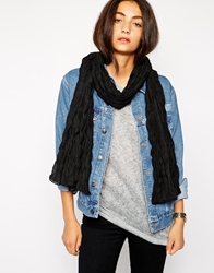 Pieces Mystic Crinkled Long Scarf Black