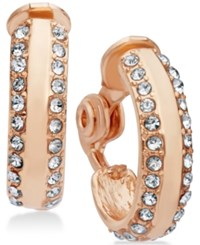 Anne Klein Pave Accented Clip On Hoop Earrings Rose Gold
